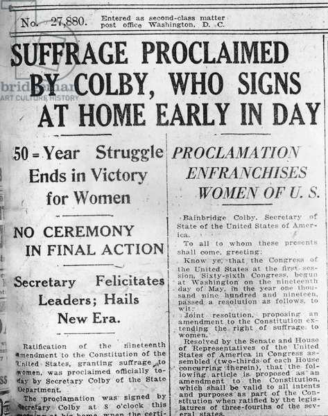 Newspaper headline announces signing of the 19th Amendment, August 26, 1920 (print)