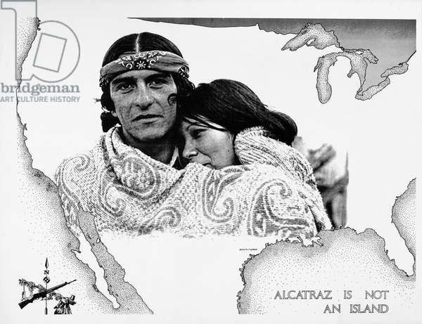 Alcatraz is not an island, poster from the American Indian Movement occupation of Alcatraz, 1969-70 (litho)