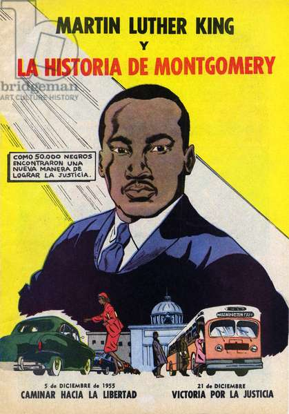 Martin Luther King y La Historia de Montgomery, cover of Spanish comic book on Montgomery bus boycott, 1957 (colour newsprint comic)