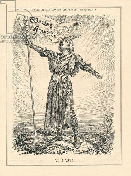 At Last, illustration of female warrior celebrating Woman's Franchise, Punch, January 23, 1918 (print)