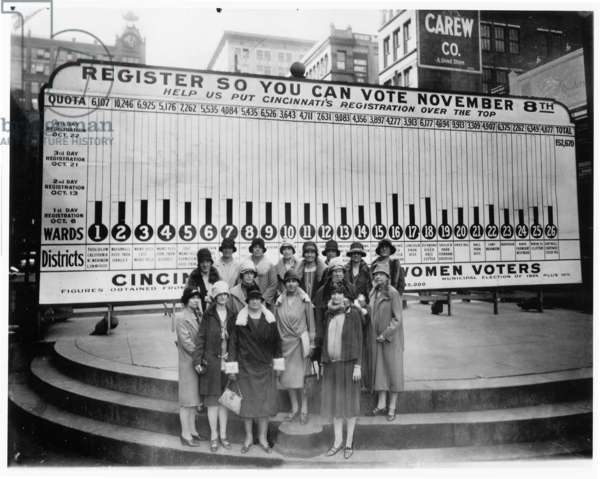 Members of the League of Women Voters pose before a voter registration billboard in Cincinnati, Ohio, 1926 (b/w photo)