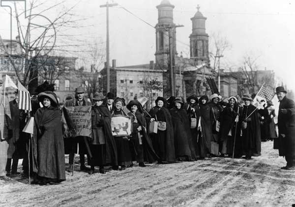 Suffragists led by Rosalie Jones, left, prepare to hike from New York City to Washington D.C., February , 1913 (b/w photo)