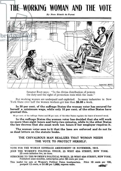 The Working Woman and the Vote, New York woman suffrage leaflet, 1913 (print)