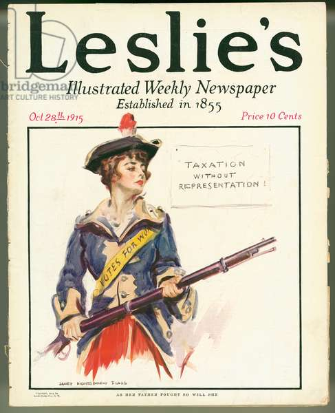 As Her Father Fought So Will She, front cover of 'Leslie's Illustrated Weekly Newspaper, 28th October 1915 (colour litho)
