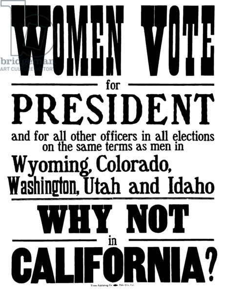 Women Vote for President, woman suffrage campaign poster, 1911 (litho)