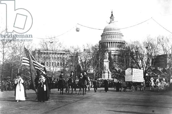 The start of the women's suffrage parade in Washington D.C., March 3, 1913 (b/w photo)