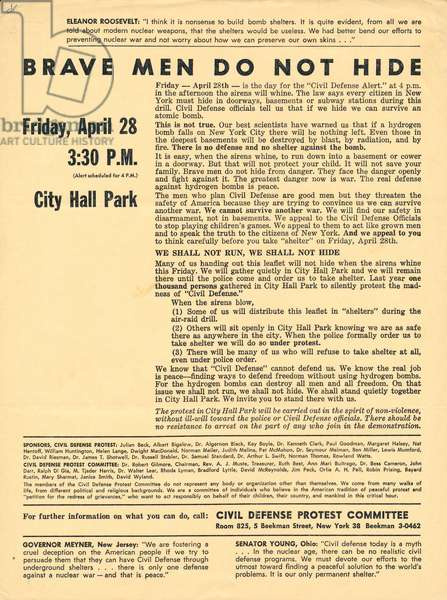 Brave Men Do Not Hide, leaflet from the Civil Defense Protest Committee, April 28, 1961 (litho)