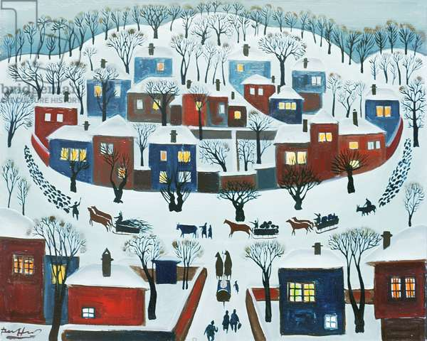 Winter Village, 1969 (oil on canvas)