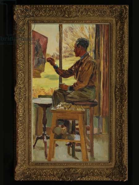 Portrait of Eardley Knollys (Long Crichel studio), c.1960 (oil on canvas)