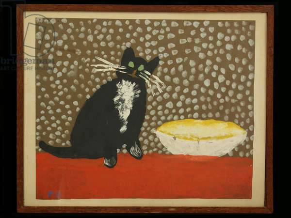 Cat by Pat Berrisford, aged 6, 1948 (poster paint on paper)