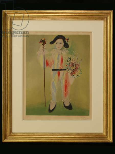 The Artist's Son as a Harlequin, c.1960 (colour litho)