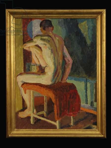 Seated Male Nude from Behind (oil on canvas)