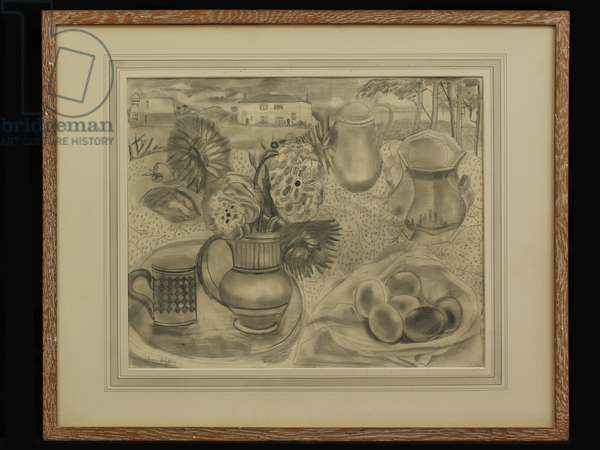 Still Life in Landscape with House, c.1940 (pencil)