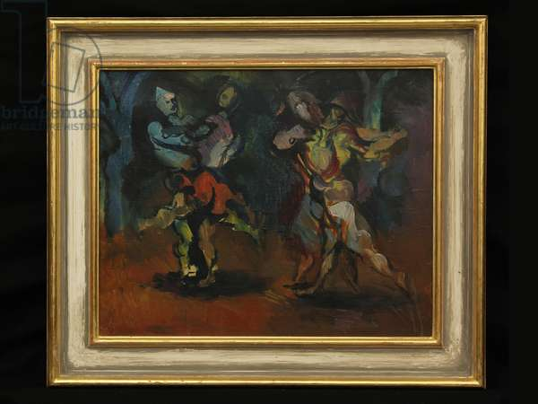 Harlequins Dancing, c.1960s (oil on canvas)