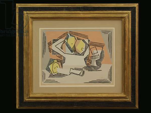 Still life with Lemons, Bowl, Cup and Knife (litho)