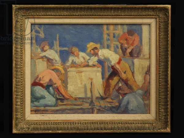 Workmen, 1910 (oil on canvas)