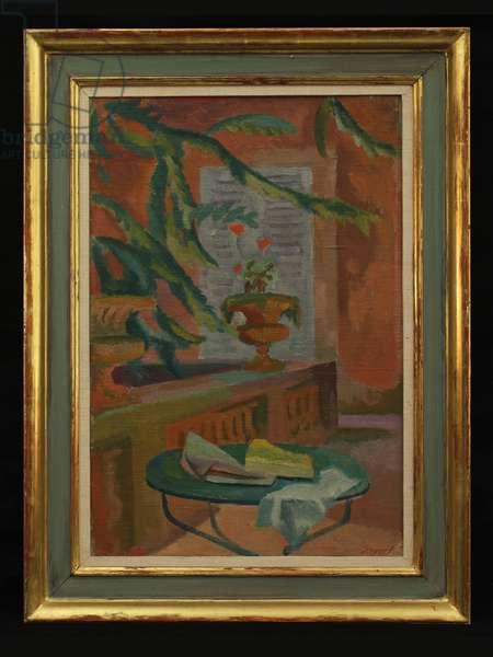 On the Terrace, c.1920s (oil on canvas)