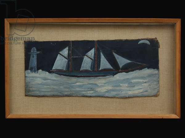 Trawler off Cornish coast, c.1930 (oil on card)