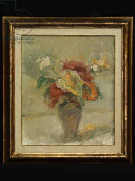 Flowers in a Vase (oil on canvas)