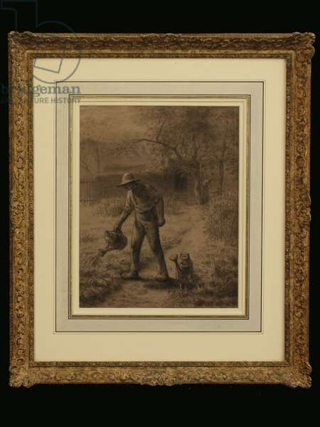 Peasant in his Garden, c.1860 (chalk on paper)