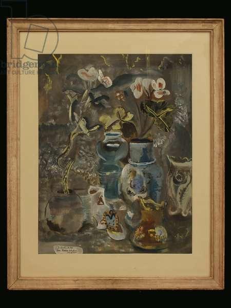 Vases with Flowers, 1942 (gouache)