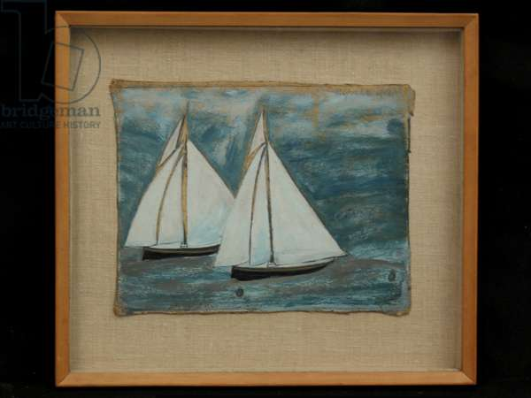 Two Sailing Boats, c.1930 (oil on card)