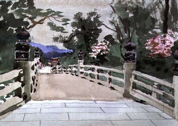 Kyoto Imperial Palace Bridge, 1991 (w/c)