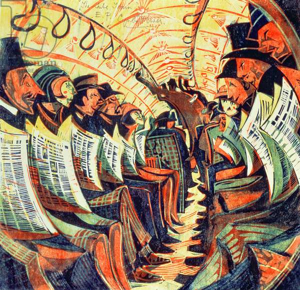 The Tube Train, c.1934 (linocut)