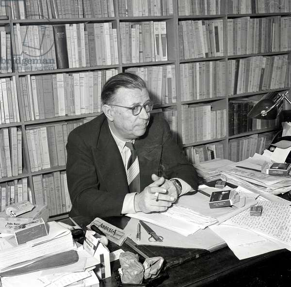 Portrait of Jean - Paul Sartre in his office in 1964