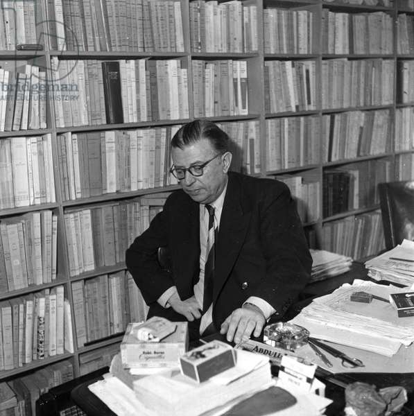 Portrait of Jean Paul Sartre in his office in 1964