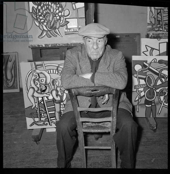 Fernand Leger (1881-1955), English painter in his studio. 1950s (b/w photo)