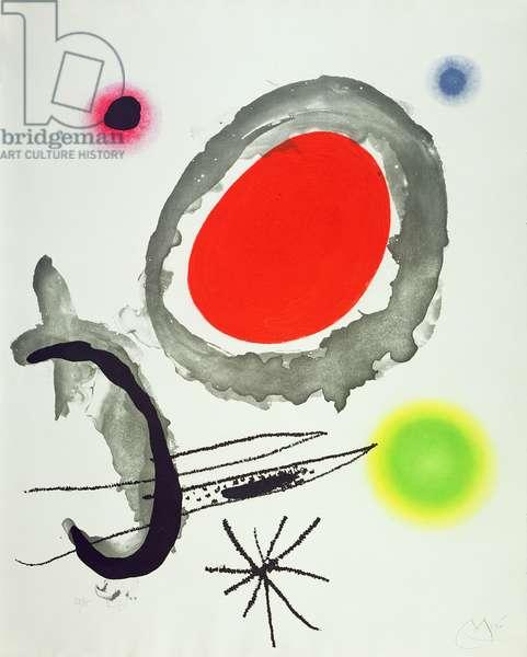 Bird between Two Heavenly Bodies, 1967 (engraving, aqua fortis, aqua tinta, carborundum on paper)
