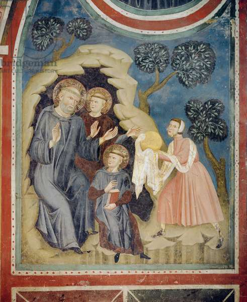 Attempted Poisoning: A woman brings St. Benedict poisoned bread wrapped in white linen (fresco)