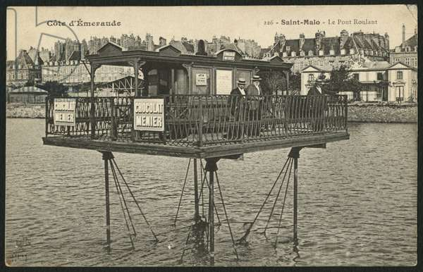 Postcard depicting the moving bridge at high tide in Saint-Malo, c.1900 (photolitho)
