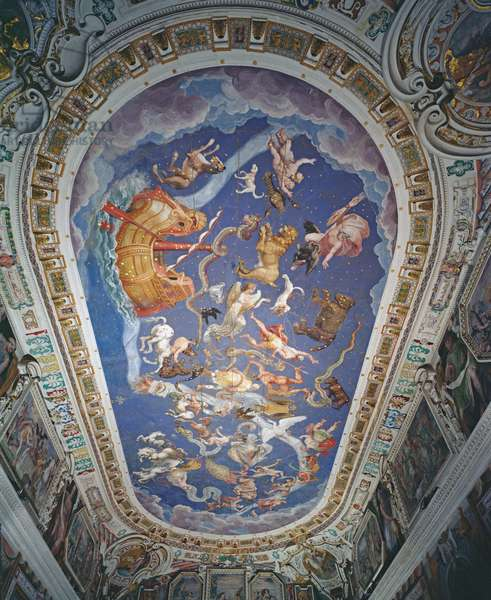 Astrological ceiling, in the Sala del Mappamondo (fresco)