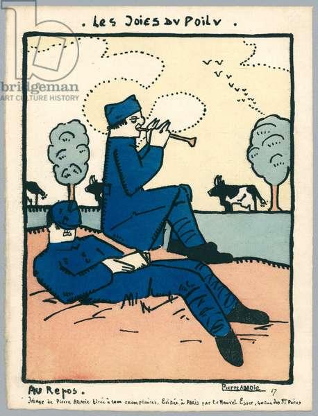 Resting, illustration from a series 'Les Joies du Poilu', Paris, 1917 (colour litho)
