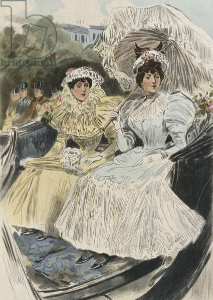 Distinguished young women of easy virtue, illustration from 'La Femme a Paris' by Octave Uzanne (1851-1931) 1894 (colour engraving)