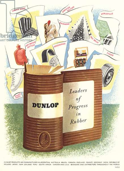 Advert for 'Dunlop' Rubber Company, illustration from the 'South Bank Exhibition' catalogue, Festival of Britain, London, 1951 (colour litho)