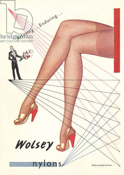 Advertisement for 'Wolsey' nylons, illustration from 'Woman and Home', August 1948 (colour litho)