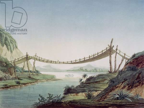 Rope bridge near Penipe, crossing the Chambo River, Mexico, 1810 (coloured engraving)