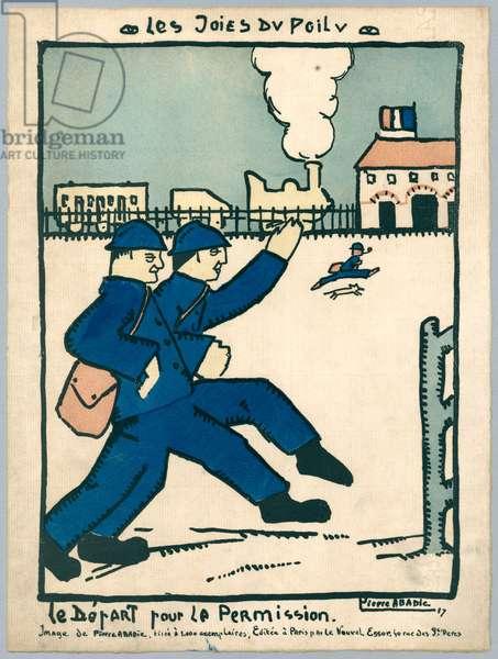 Off on leave, illustration from a series 'Les Joies du Poilu', Paris, 1917 (colour litho)