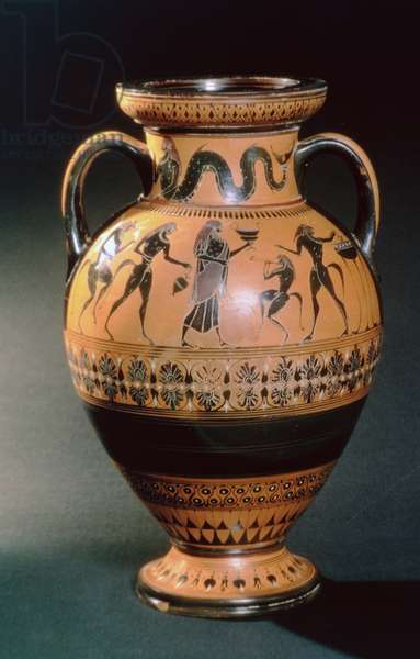 Ionian black figure amphora, depicting a merman and a sacrificial ritual, c.540-530 BC (earthenware)
