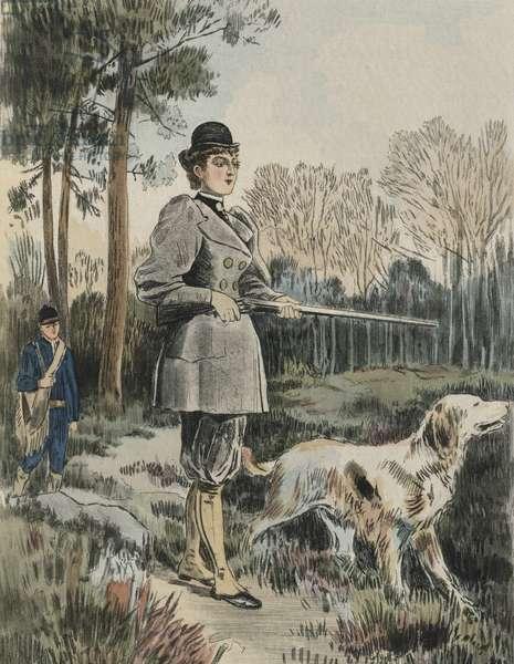 The huntress, illustration from 'La Femme a Paris' by Octave Uzanne (1851-1931) 1894 (colour engraving)
