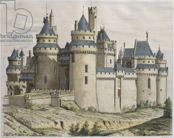 Chateau de Pierrefonds, illustration from 'Le Moniteur des architectes', engraved by Bosredon (colour engraving)