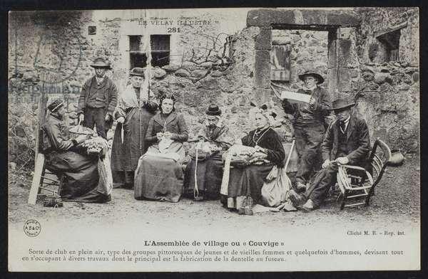 Postcard depicting the villagers meeting or 'Couvige', Le Puy-en-Velay, c.1900 (b/w photo)