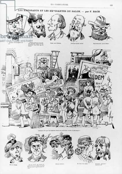 Caricature of artists entering work to be exhibited at the Paris Salon of 1881, from the magazine 'La Caricature' no.69, 23 April, 1881 (litho)