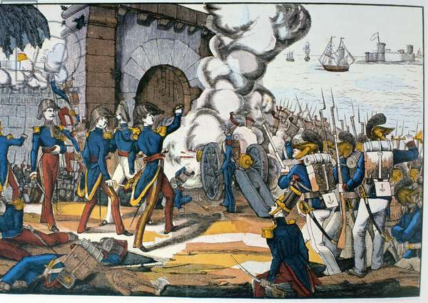 French attack on the Mexican fortress of San Juan de Ulua during the Pastry War of 1838 (colour litho)