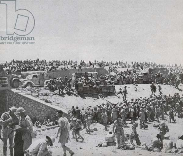 Capture of Tobruk, 25,000 Italian prisoners and a large quantity of equipment and weapons by Rommel in June 1942, 1942 (b/w photo)