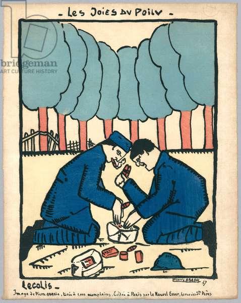 The parcel, illustration from a series 'Les Joies du Poilu', Paris, 1917 (colour litho)