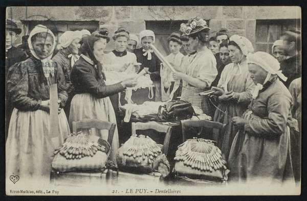 Postcard depicting lacemakers of Le Puy, c.1900 (b/w photo)